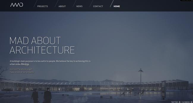 19 black websites for your inspiration for Architectural websites