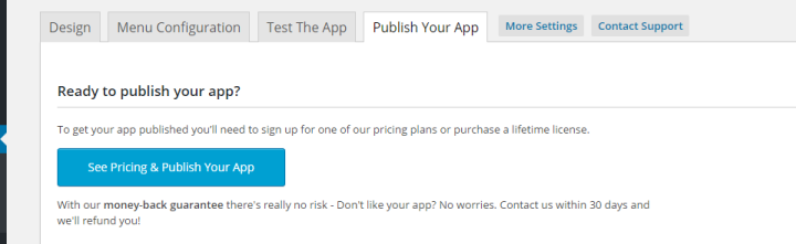 To see the pricing plans, click See Pricing & Publish Your App.