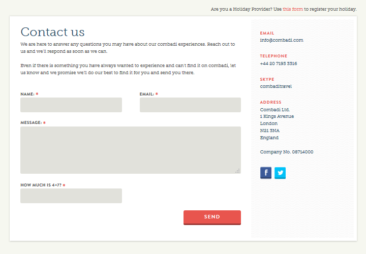 Combadi - Contact Page Example