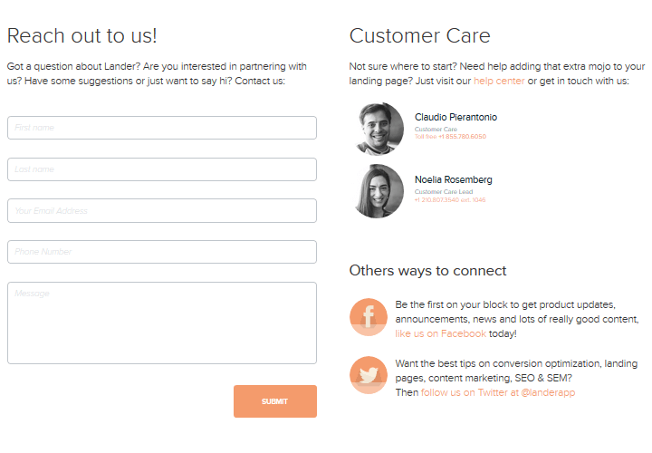 Lander - Contact Page Example