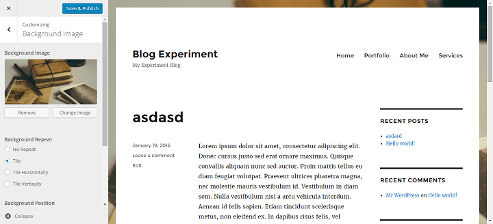 setting up a background image in the Twenty Sixteen WordPress Theme