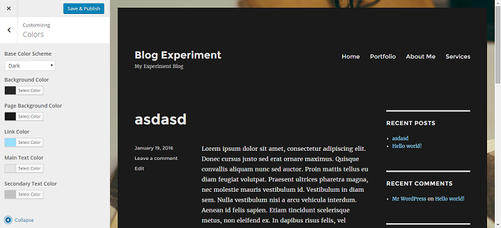changing the color scheme image in the Twenty Sixteen WordPress Theme