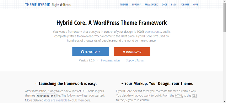 Hybrid Core WordPress Framework