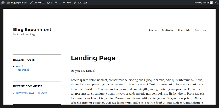 landing page with no header in Twenty Sixteen WordPress Theme