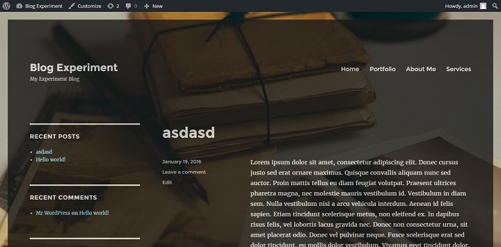 opaque left sidebar Twenty Sixteen WordPress Theme
