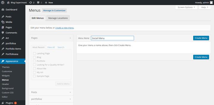creating a social menu in the Twenty Sixteen WordPress Theme
