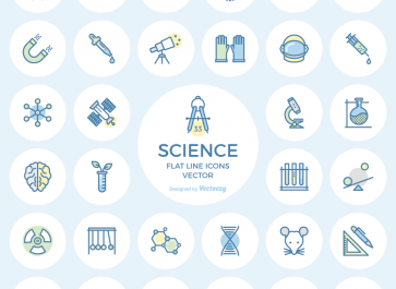 Freebie: Science Flat Line Icons