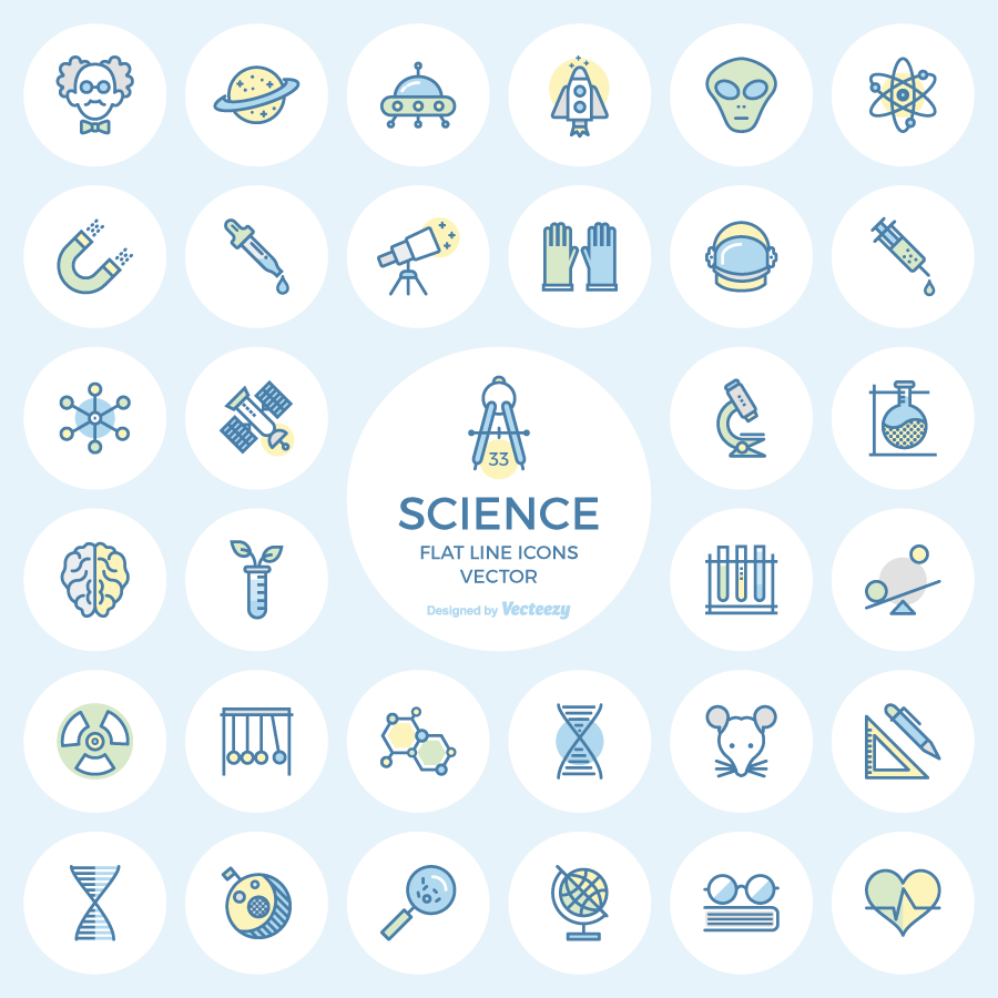 science-flat-line-icons-preview