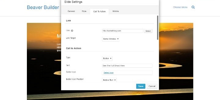 Beaver Builder Slider Call To Action Settings - Create Complex Content With WordPress Page Builder Plugins