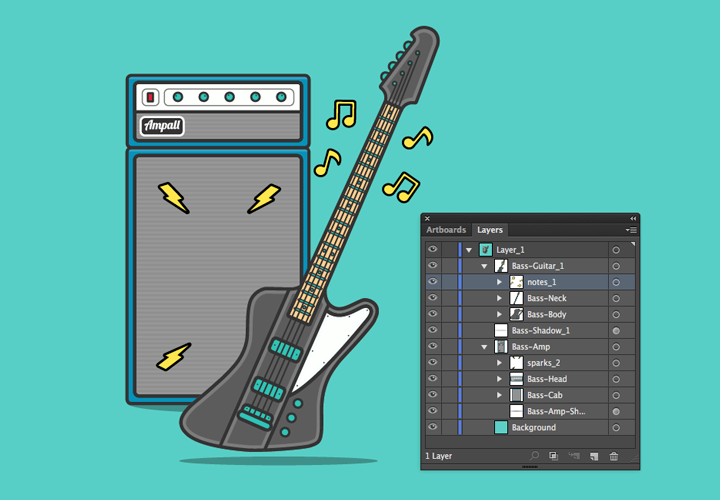 SVG Bass Guitar Groups