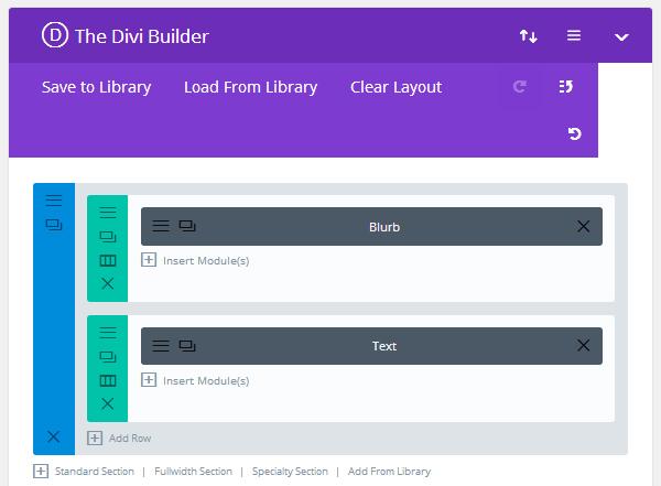 The Divi Builder Drag & Drop Page