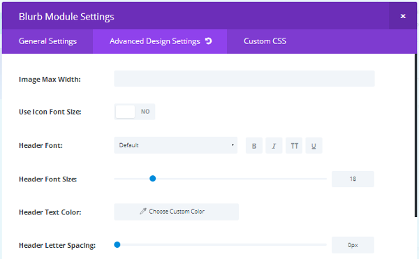 Divi Builder Advanced Design Settings