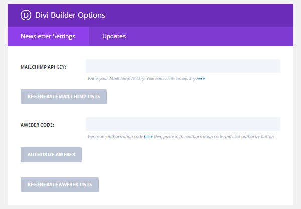 Divi Builder Plugin Options