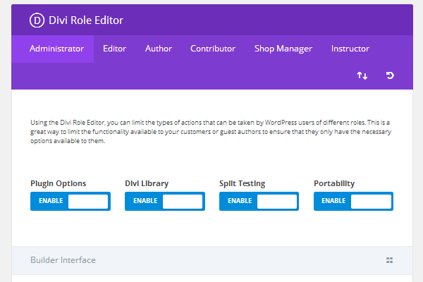 Divi Builder Role Editor