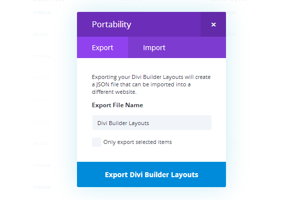 Divi Library Export