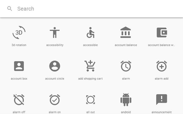 Material Icons Google Material Design