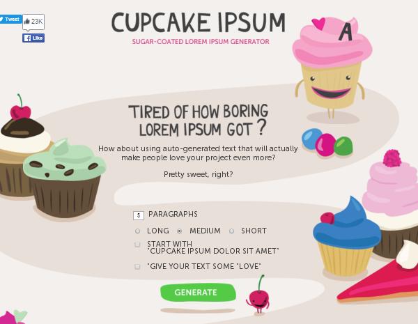 Cupcake Ipsum Settings