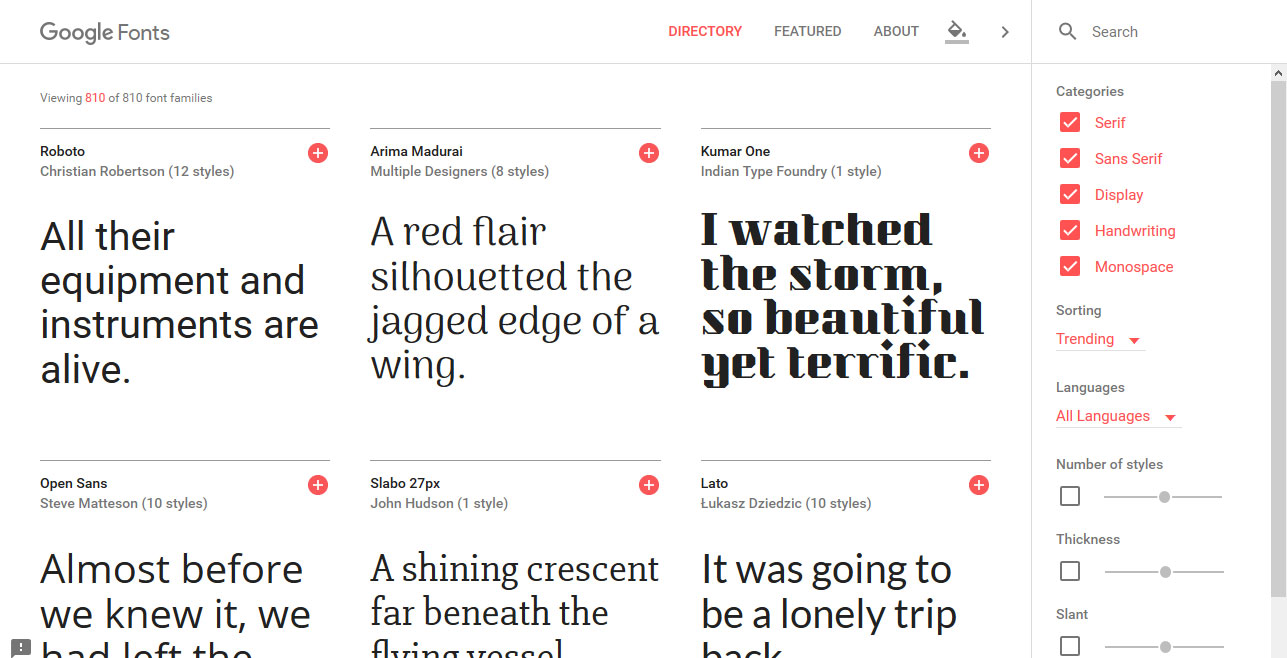 Google fonts homepage