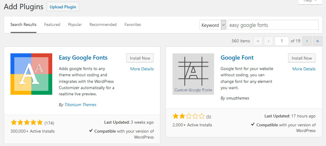 install easy google fonts