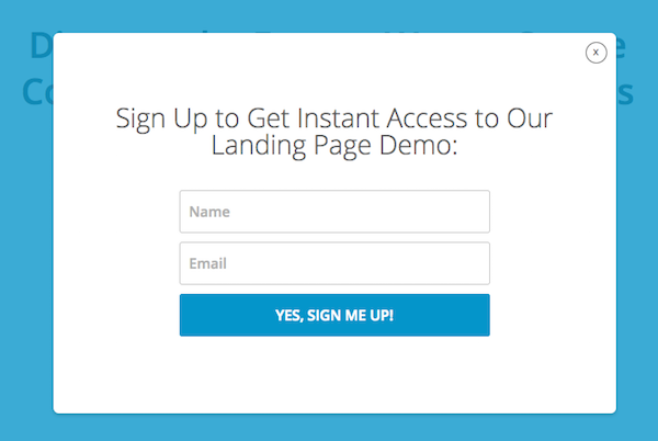 2-Step: Clicking the button opens a lightbox: