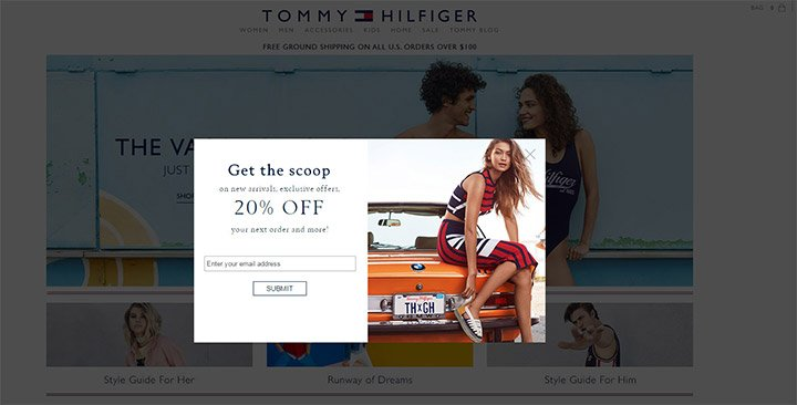 tommy hilfiger modal optin