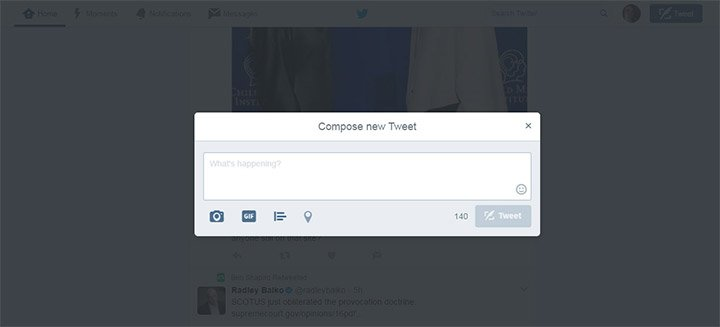compose twitter modal