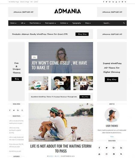 Adsense Optimized WordPress Themes 2017