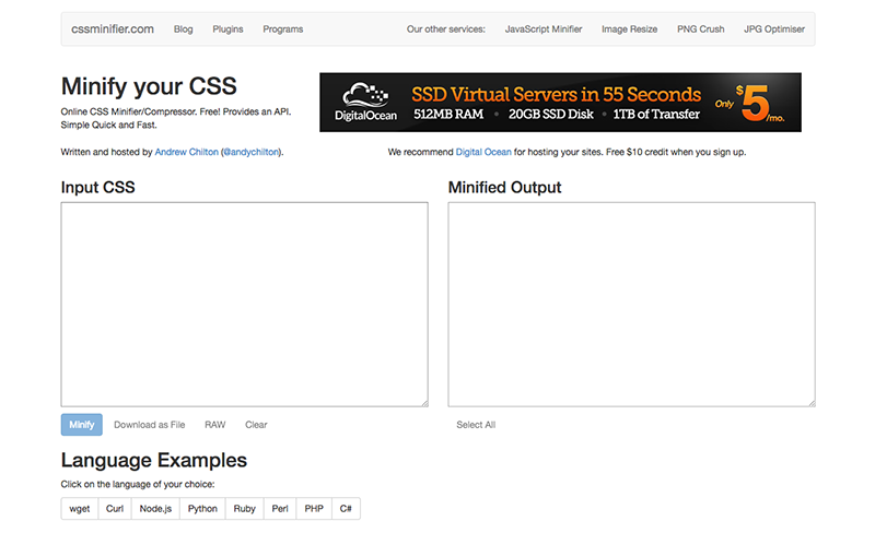The CSS Minifier online tool.