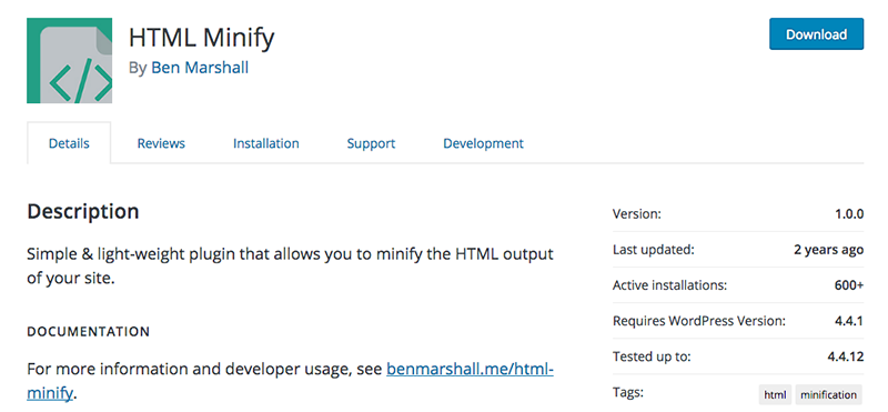 The HTML Minify plugin.