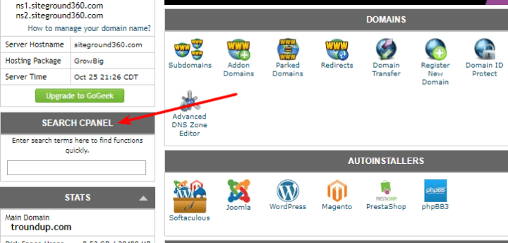 searching for cpanel functions