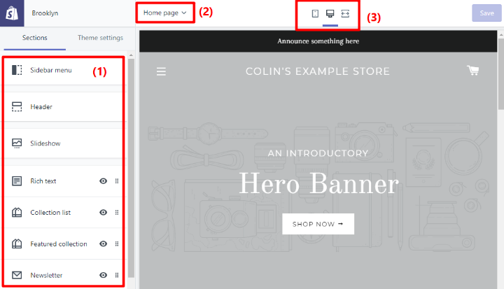 shopify theme interface