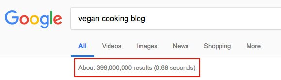 "There are 399 million Google results for ""vegan cooking blog"""