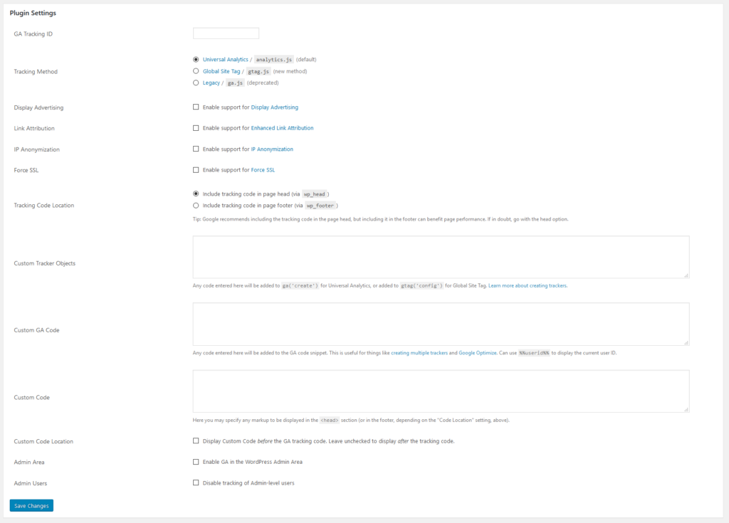 ga google analytics plugin settings