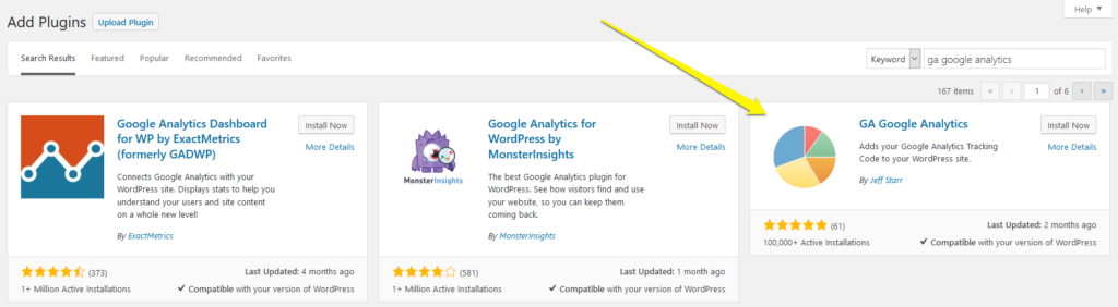 install ga google analytics plugin