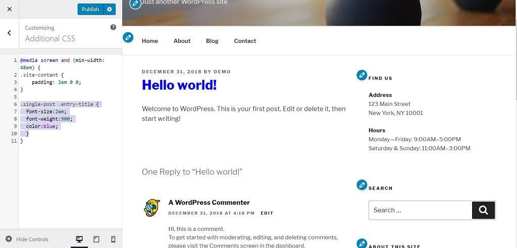 Bigger Better Title Header CSS in WordPress Twenty Seventeen Theme