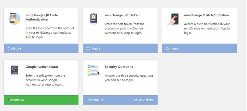 miniOrange authentication methods