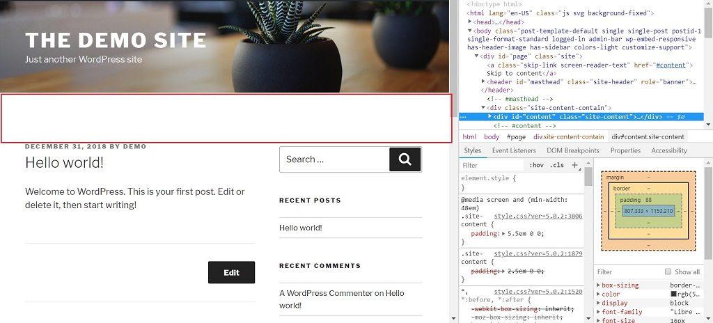 Twenty Seventeen WordPress Theme CSS Padding