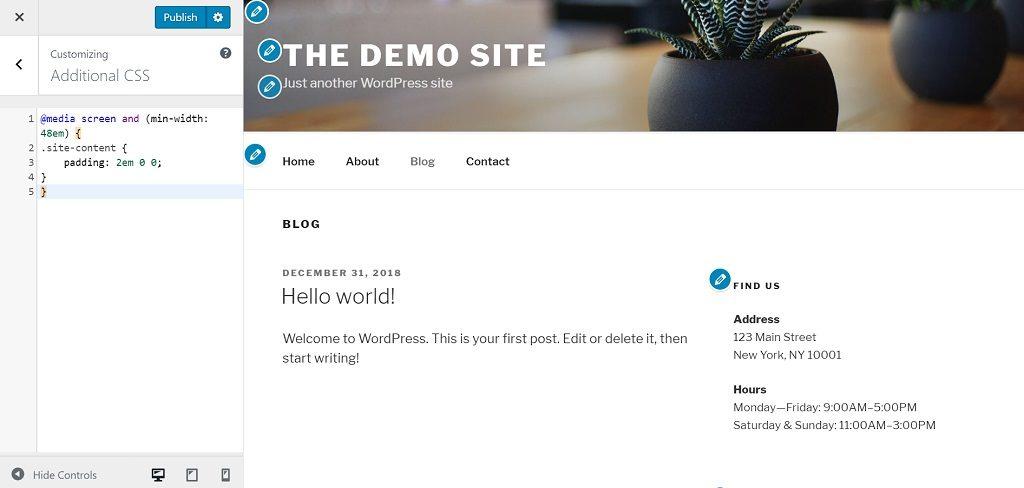 Twenty Seventeen WordPress Theme New CSS Padding