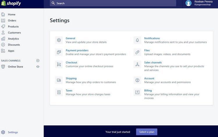 shopify-settings