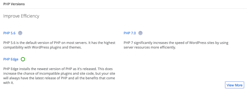 Bluehost PHP Versions