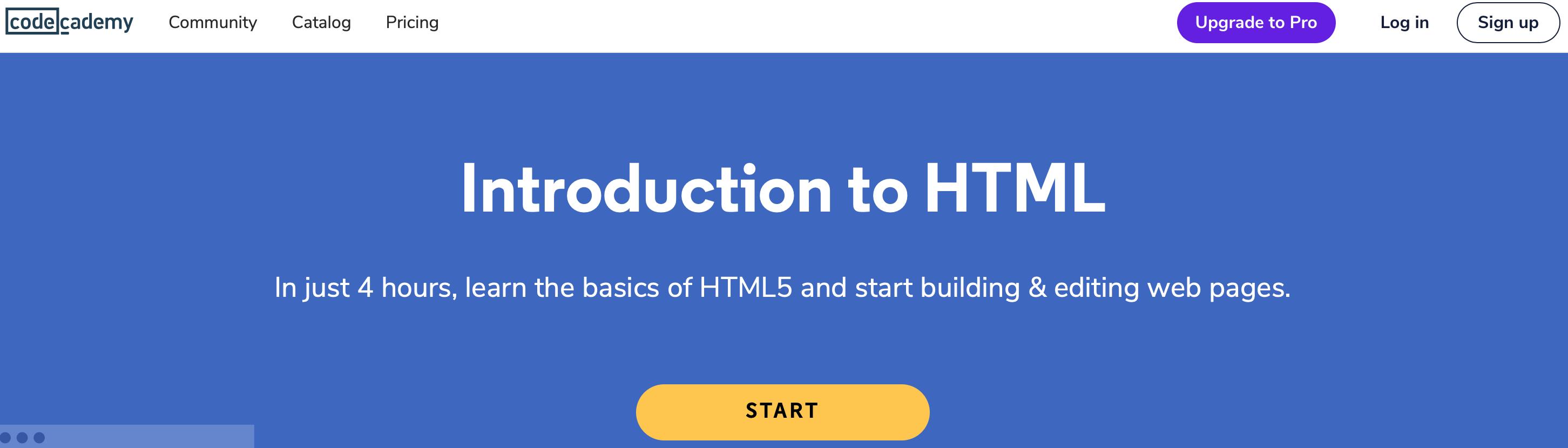 The Codeacademy website homepage.