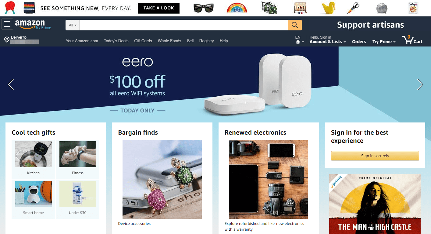 The Amazon website home page.