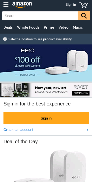The Amazon home page on a mobile device.
