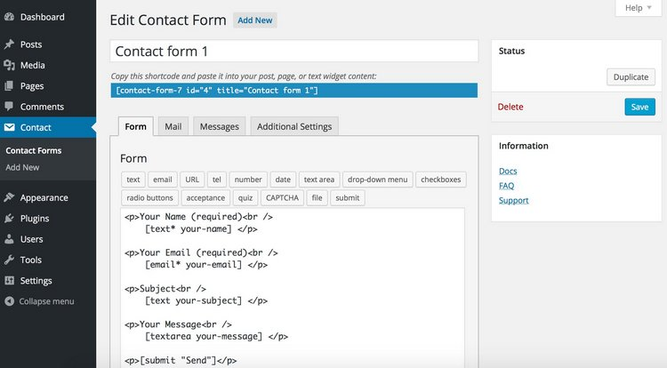 contact form 7- 2