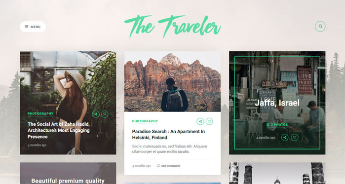 Traveller WordPress themes for writers