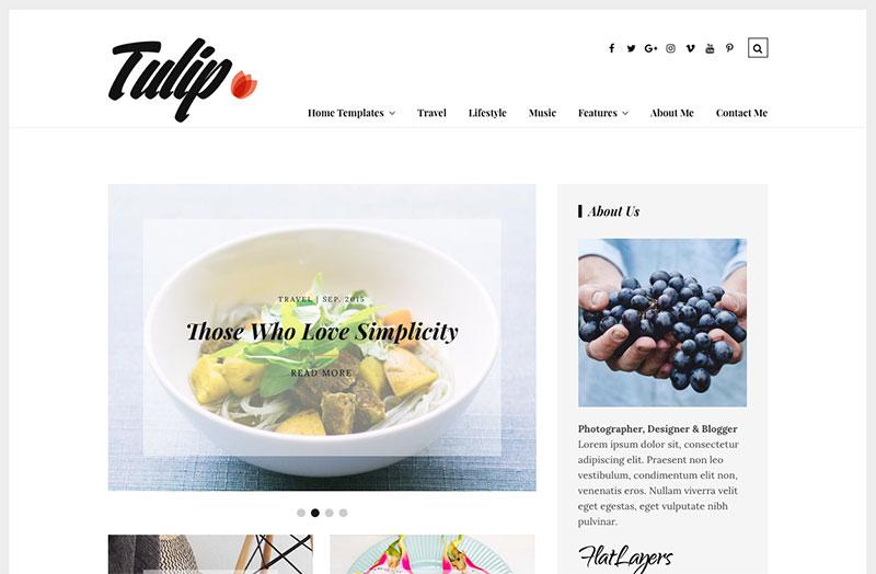 Tulip WordPress themes for writers