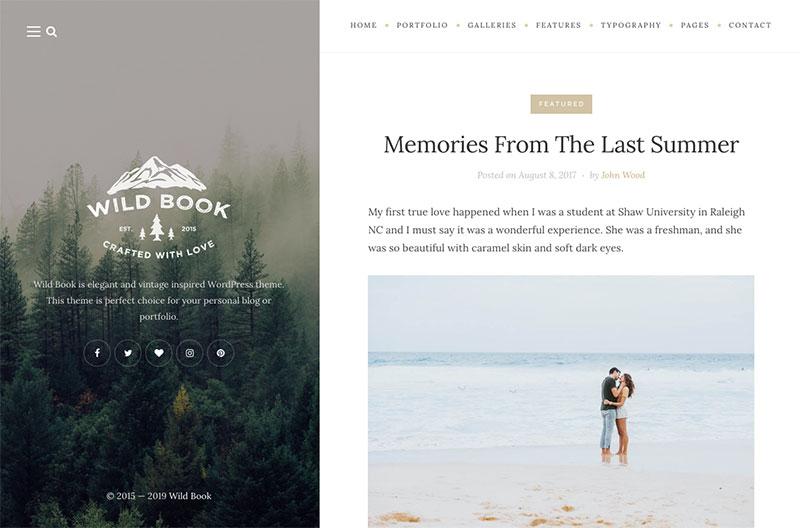 Wild Book WordPress themes for writers