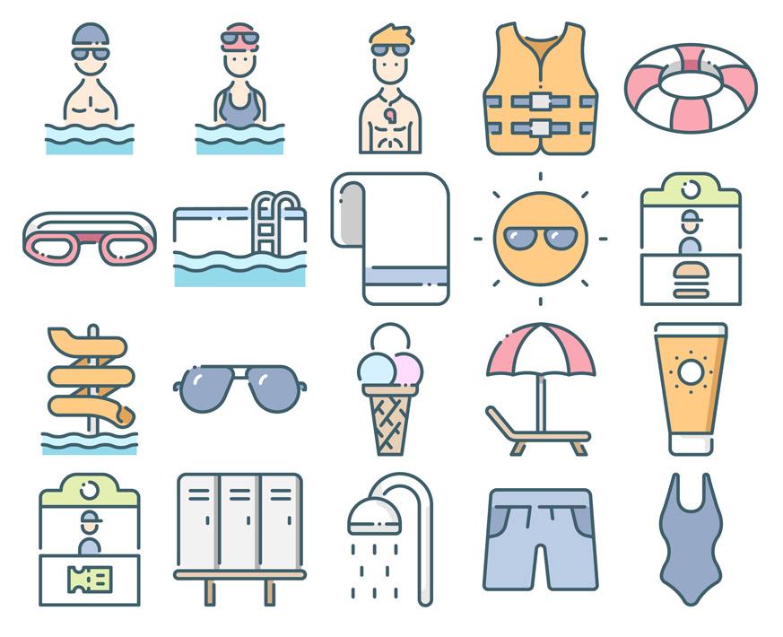 free waterpark icon set