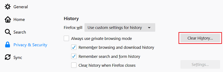 clear history button in mozilla firefox