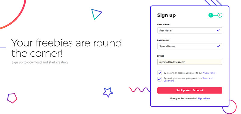 Sign Up to Envato Elements